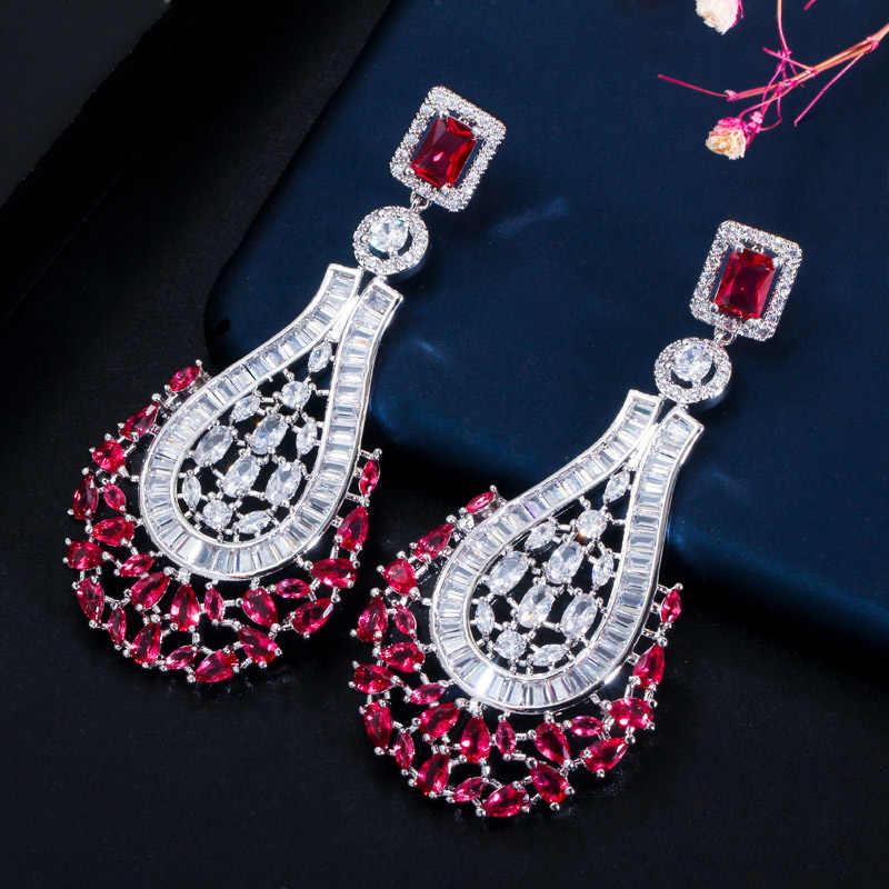 Janekelly Mewah Pernyataan Besar Menjuntai DROP Mawar Merah CZ Anting-Anting Vintage Pernikahan Bridal Pesta Kostum Perhiasan