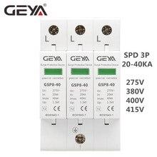 GEYA GSP8-3P Electric Surge Protector 275V 385V 400V 440V 40KA SPD House Surge Protector EU 7 50ka v25 b c 3 npe surge arrester 385v ac