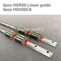Free shipping 20MM 2pcs HGR20 linear rail 1200mm 1500mm and 4pcs HGH20CA or HGW20CA linear block CNC Parts