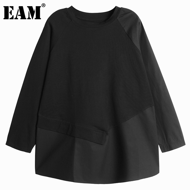 [EAM] Women Asymmetrical Spliced Button Big Size T-shirt New Round Neck Long Sleeve  Fashion Tide  Spring Autumn 2021 1DD3065 1