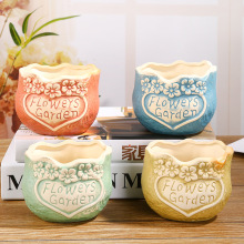 Round heart-shaped flowerpot ceramic flowerpot fea