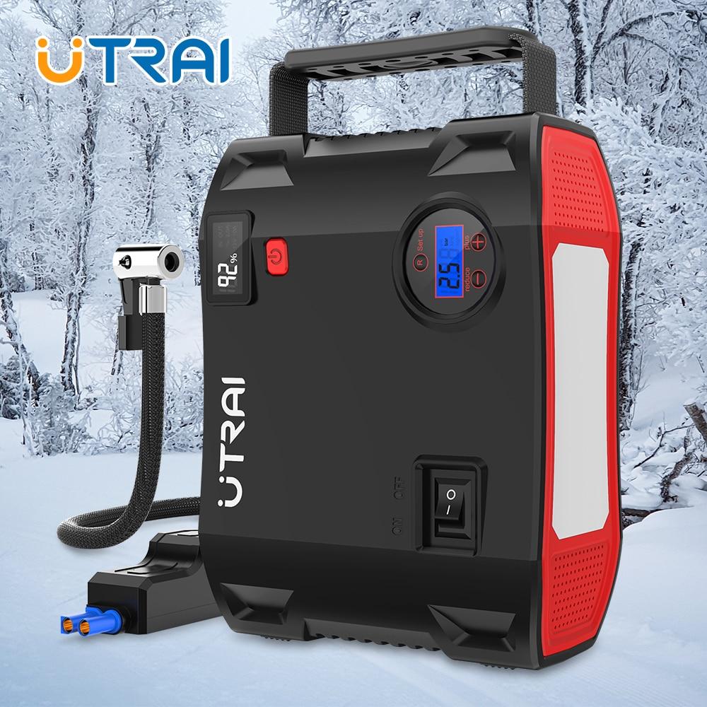 UTRAI Car Jump Starter Power Bank 24000mAh ze sprężarką powietrza Portable Emergency Booster Auto Car zapalniczka urządzenie rozruchowe rozruch samochodu starter samochodowy akumulator samochodowy ładowarka samochodowa