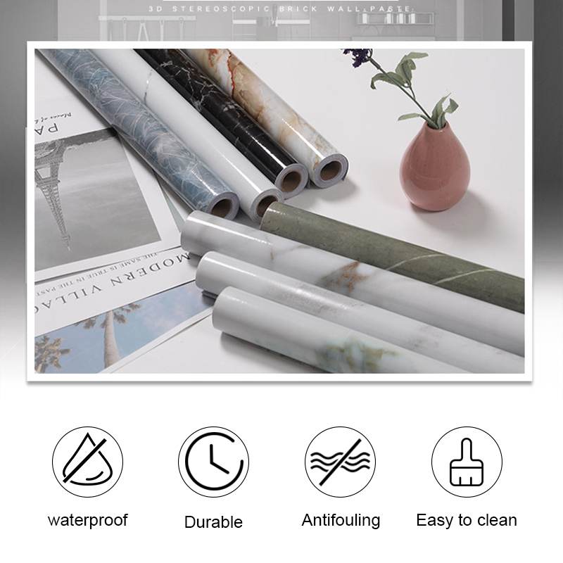 3M/5M/10M Kitchen Marble Wallpapers PVC Wall Paper Wall Stickers Countertop Sticker Bathroom Self Adhesive Waterproof Wallpaper