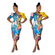 Платье женское летнее с коротким рукавом круглым вырезом и принтом