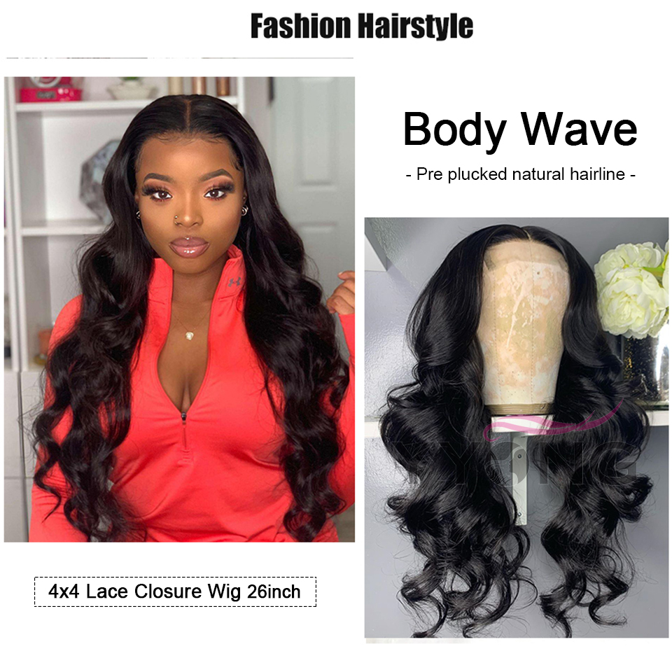 32Inch 4x4 Lace Closure Wigs With Baby Hair 1X6 T Part HD Transparent Indian Body wave  Long  Lace Wigs 120% 5