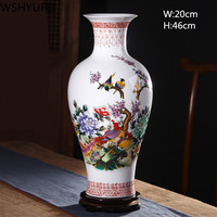 Ceramic antique vase china home decoration countertop vase new home gift wedding decoration landscape painting flower and bird