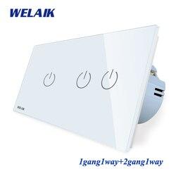 WELAIK Brand-Manufacturer 2Frame-Crystal Glass-Panel Wall-Switch EU Touch-Switch  Light-Switch 1gang1way AC250V A291121CW/B