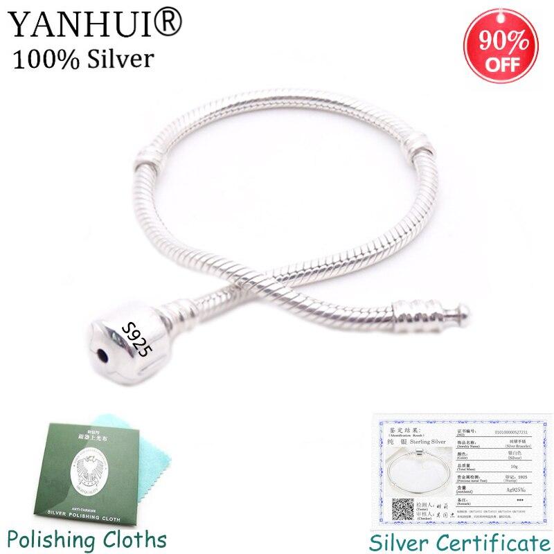 90%! Bijoux fins originaux 925 Bracelet à breloques en argent massif avec certificat Bracelet en os de serpent doux/lisse pour femmes YHS005