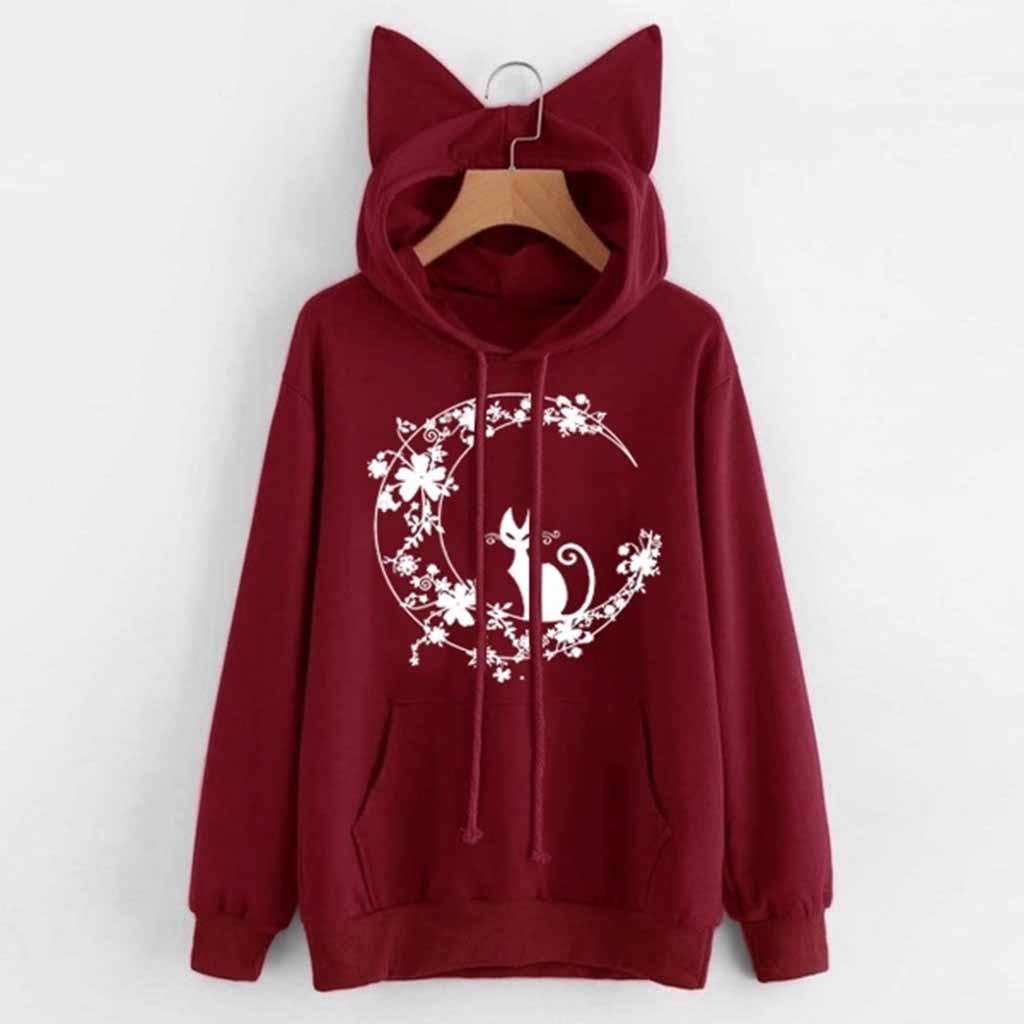 moletom feminino inverno harajuku hoodie Womens Cat Long Sleeve Hoodie Sweatshirt Hooded Pullover Tops