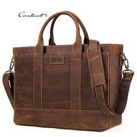 CONTACT'S Crazy Leather Shoulder Bag for Men 15 Inches Laptop Messenger Bag Luxury Male Crossbody Travel Business Handbag Bolsos