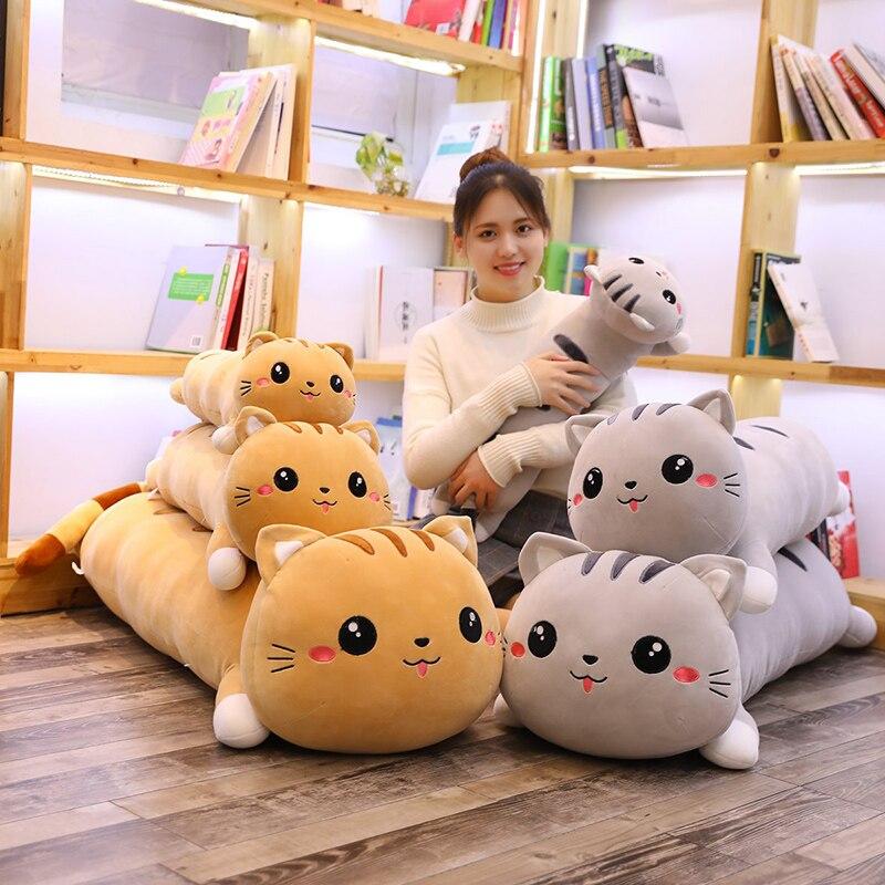 Cartoon Cat Pillow Stuffed Animal Dolls Soft Kids Toy Cat Sleep Long Plush Pillow Sofa Decorative Cushion Girl Gift Overwatch