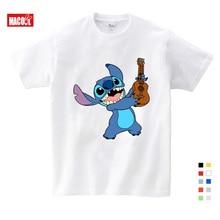 цена на 2020 Boys and Girls Cartoon Stitch and Lilo Print T Shirt Kids Funny Clothes Baby Summer White T-shirt 3-12 Years T-shirt Boys