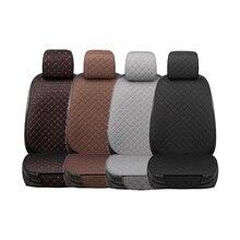 פשתן מושב המכונית כיסוי קדמי משענת כובע פשתן בד כרית לנשימה מגן Mat Pad Fit פנים רכב משאית Suv ואן