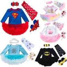 Одежда для новорожденных девочек брендовые комплекты одежды из 4 предметов для малышей комбинезон-пачка, Roupas De Bebes Menina, От 0 до 2 лет для малышей костюмы Супермена