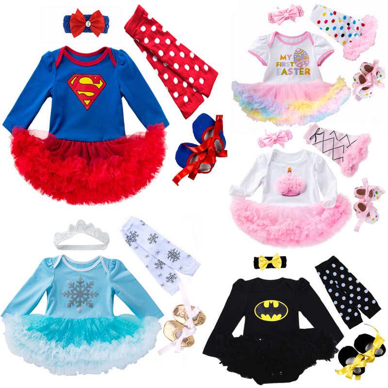 Pasgeboren Baby Meisje Kleding Merk Baby 4 Stuks Kleding Sets Tutu Romper Roupas De Bebes Menina Zuigeling 0-2T Baby Superman Outfits Set