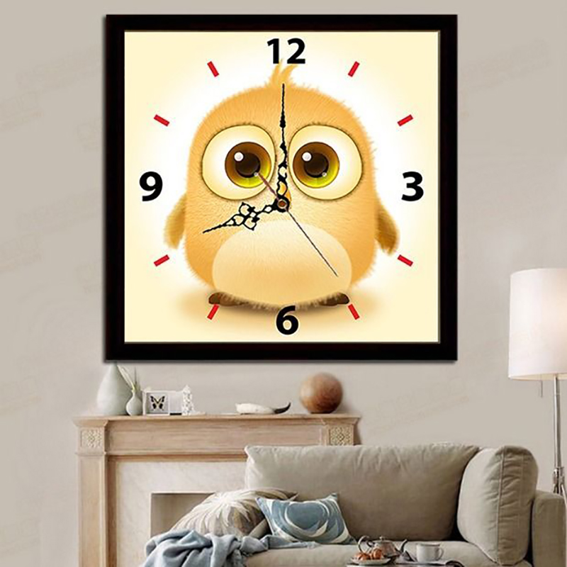 Youran bricolage diamant peinture point de croix perles rondes dessin animé mignon hibou chambre d'enfants décoration murale horloge Kit Animal oiseau