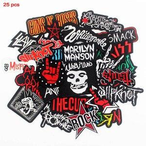 Смешанные футболка в стиле рок музыки патчи вышитые значки панк одежда для хиппи наклейки гладильная для ткани на основе карбида кремния дж...