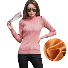 Pull femme 2019 New Velvet thickening Pullover sweater women Half Turtleneck Jacquard knit sweater women Warm winter sweaters cable knit half zip pullover sweater