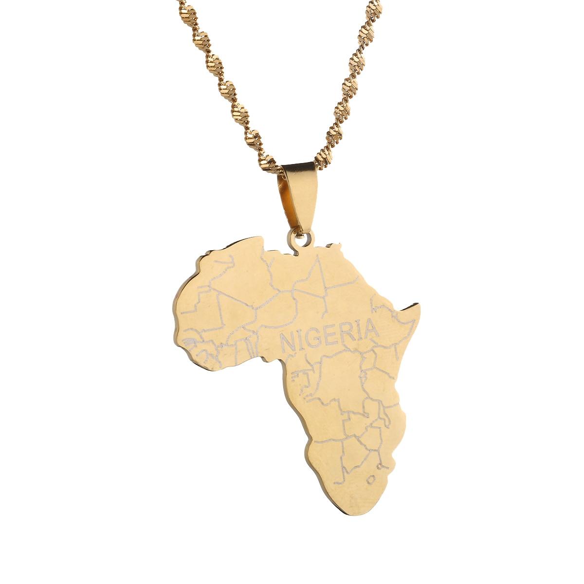 Le Nigeria Pays Carte Drapeau Collier Pendentif 50 cm Afro Femmes Hommes Cristal Couleur Or