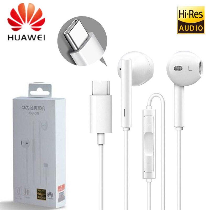 Huawei fone de ouvido com entrada tipo c cm33, fone de ouvido com microfone e controle de volume para mate 10 pro, p20 pro, p30, p30 pro, xiaomi mi 9 8 7 6 6x mix2