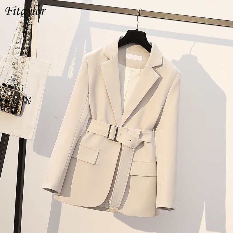 Fitaylor Spring Autumn New Office Ladies Blazer Jacket Women One Button Solid Color Suit Coat Elegant Fashion Outwear with Belt