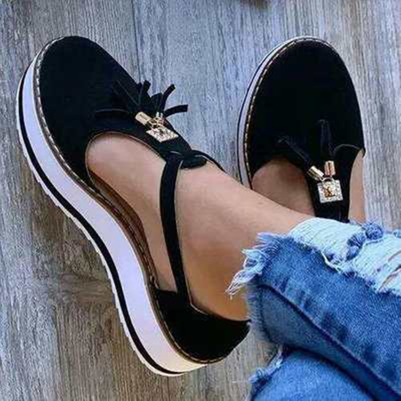 New Women Summer Sandals Fashion Buckle Strap Solid Fringe Cover Heel Flat Platform Heel Casual Ladies Plus Size Sandals