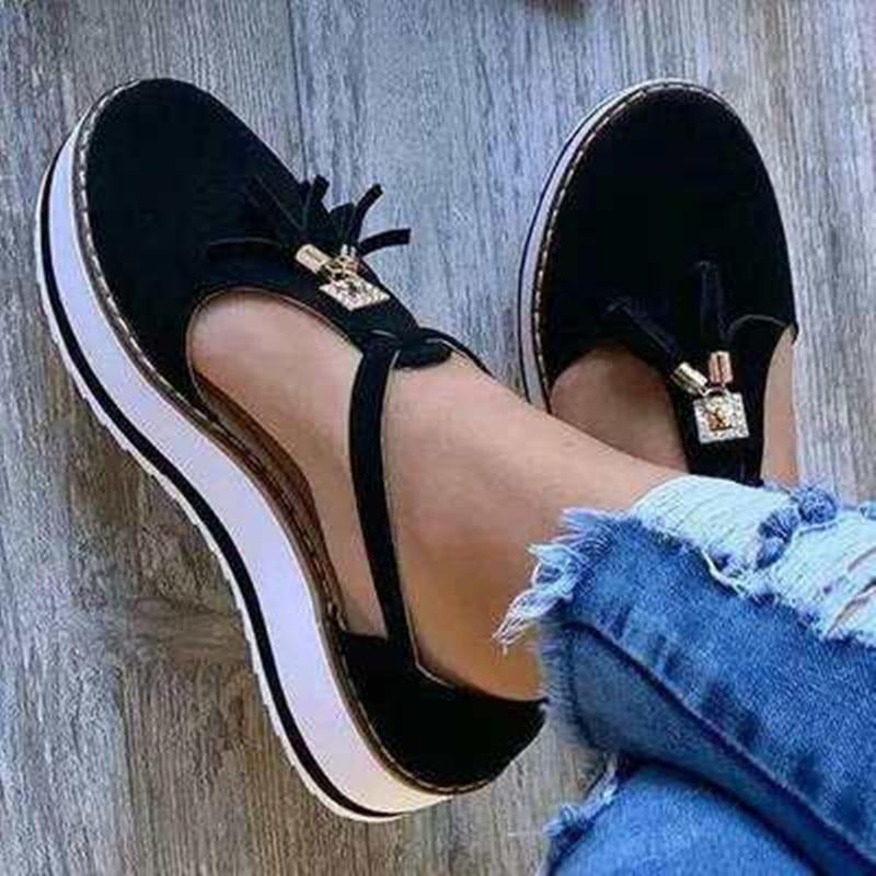 New Women Summer Sandals Fashion Buckle Strap Solid Fringe Cover Heel Flat Platform Heel Casual Ladies Plus Size Sandals