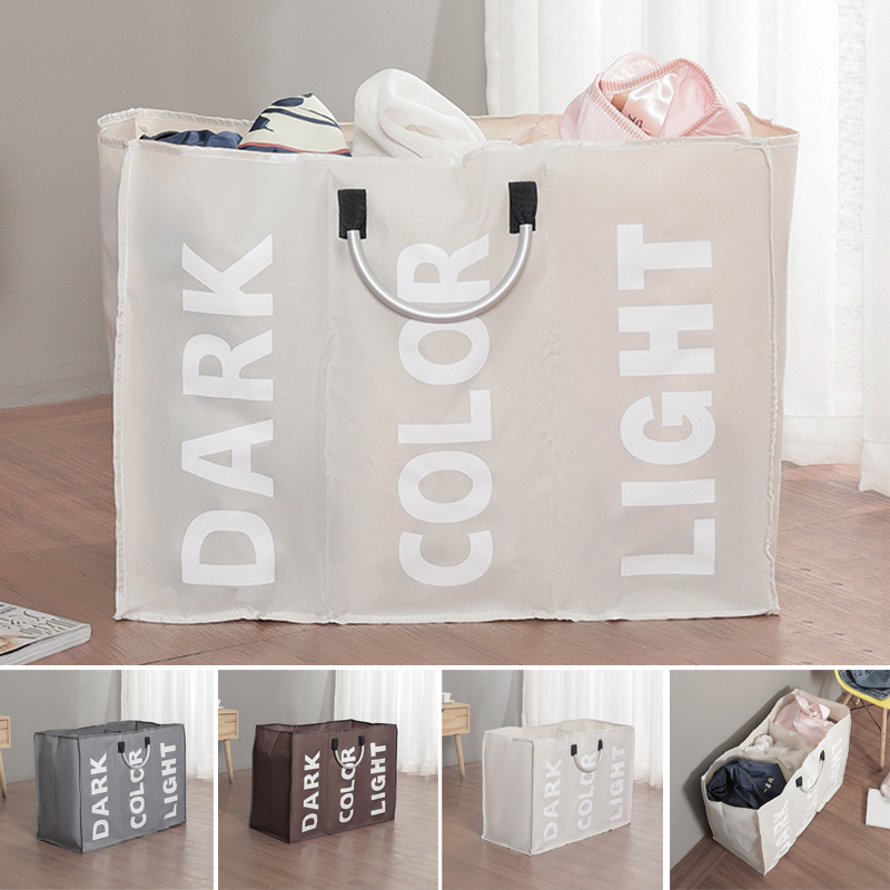 3 Sections Large Laundry Hamper Bag Collapsible Foldable Fabric Washing Clothes Sorter Storage Bag SLC88