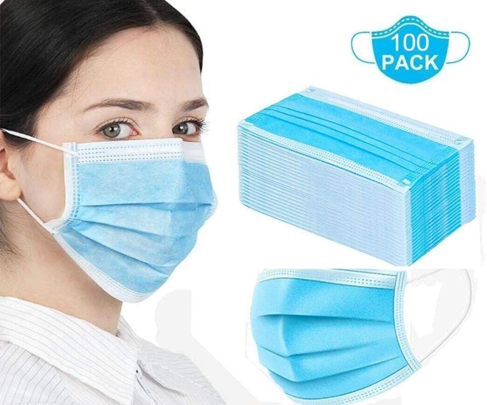 50/100Pcs Disposable Medical Masks 3 Layer  Face Masks Breathable Mouth Masks Elastic Earloop