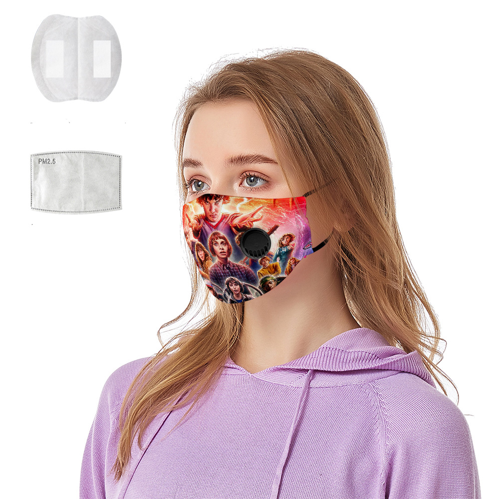 Stranger Things 3D Breathing Valve Mask + Pm2.5 Cotton Reusable Style Eleven Face Mask For Men And Women Anti Dust Pollutiont