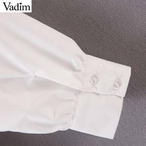 Image 5 - Vadim women chic oversized white blouse V neck back elastic long sleeve shirt female stylish office wear tops blusas LB786