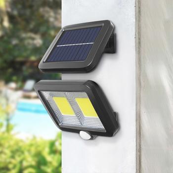 PIR Motion Sensor Outdooe światła uliczne zasilanie panelem słonecznym 30W 600lm COB 120 100 LED wodoodporne światło słoneczne ściany ogrodowe lampy słoneczne tanie i dobre opinie ISHOWTIENDA CN (pochodzenie) Oświetlenie uliczne 1 Year Girlanda SOLAR PIR Motion Sensor Wall Light IP65 Brak Awaryjne