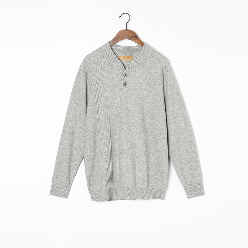 100%Cashmere Sweater Men Natural Fabric High Quality Winter Pullover Light Grey V-neck Pure Cashmere Sweaters Man