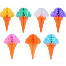 Ice Cream Party Decoration Honeycomb Hanging Decor Summer Birthday Baby Shower Tropical Hawaiian Supplies