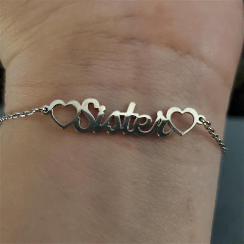 VishowCo Custom Name Bracelet Personalized Stainless Steel Bracelet With Heart Charm Bracelet Female Personality Jewelry Gift