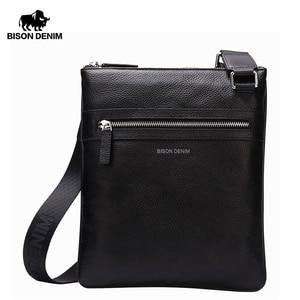 Image 1 - BISON DENIM Brand Genuine Leather Crossbody Bag Men Slim Male Shoulder Bag Business Travel iPad Bag Men Messenger Bags N2424