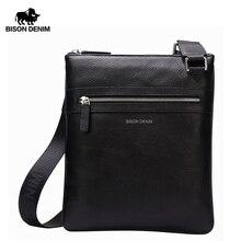 BISON DENIM marka torba z prawdziwej skóry przepasana mężczyźni Slim męska torba na ramię biznes podróży torba na ipada mężczyźni Messenger torby N2424