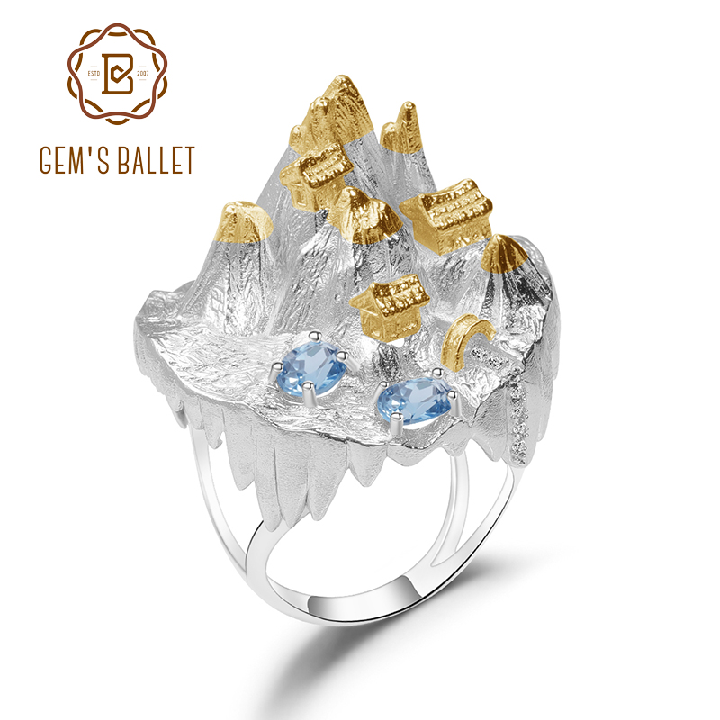 GEM'S BALLET 925 Silver Gold Plated Halloween Horror Story Natural Blue Topaz Handmade Gemstone Rings For Women Fine Jewelry