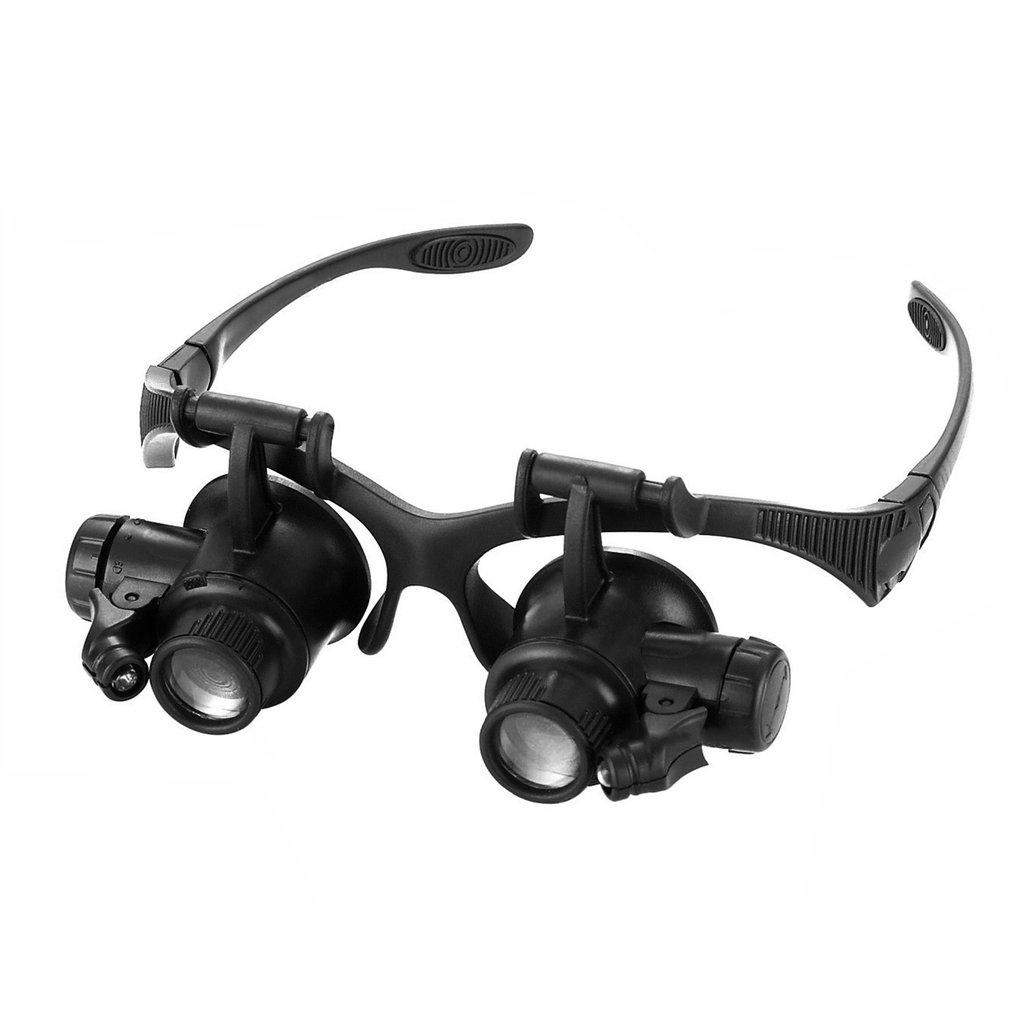 10X/15X/20X/25X Headband Magnifier Glasses Loupe Tools Head-mounted Led Light Head Lamp For Soldering/Repairing Work