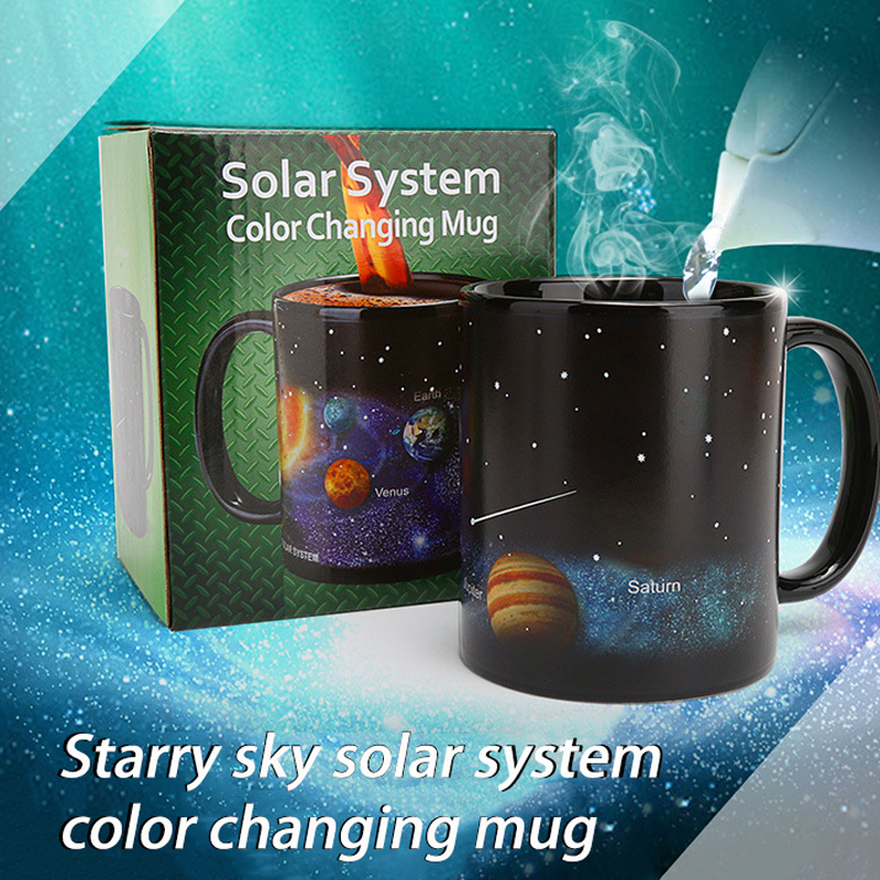 Creative Ceramic Mug Color Changing Mug Heat Revealing Coffee Cup Friends Gift Student Breakfast Cup Star Solar System Mug