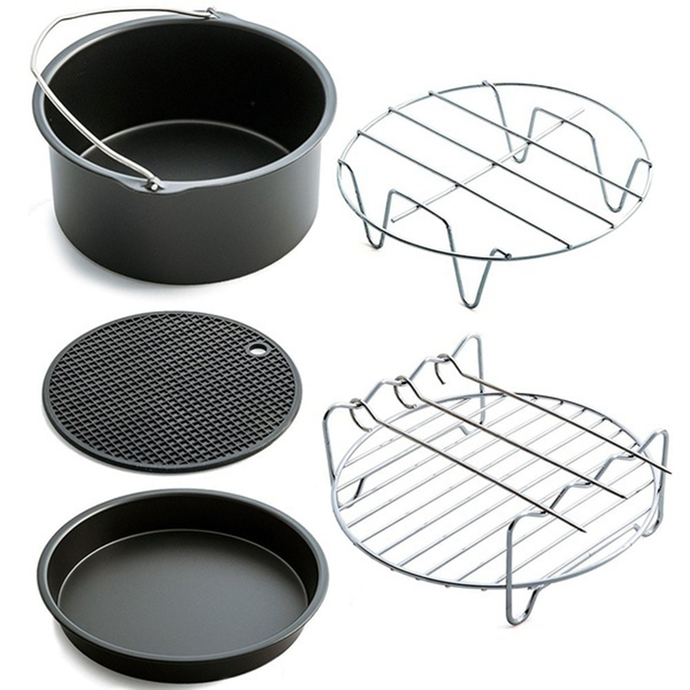 Stainless Steel Baking Tray Bracket Accessories Silicone Pad Durable Air Fryer Accessories Portable 7 Inches Sturdy Cooking