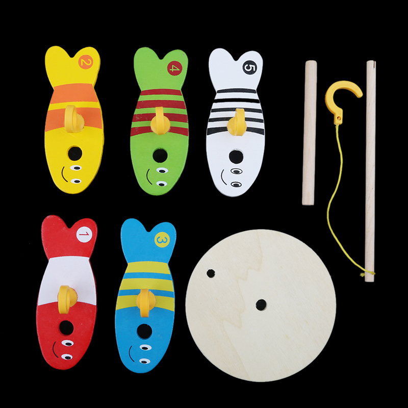 8Pcs/Set Colorful Wooden Fishing Digital Toys Baby Kids Fish Set Column Blocks Game Children Cute Early Educational Cartoon Toy