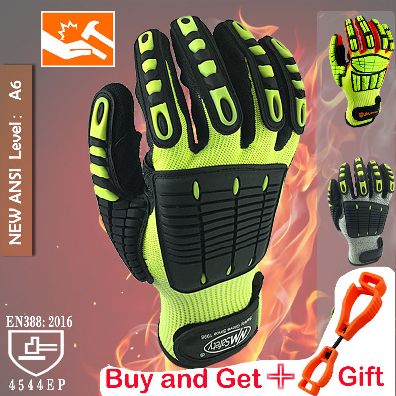 Cut Resistant Safety Work Glove Anti Vibration Anti Impact Oil-proof Protective With Nitrile Dipped Palm Glove for Working