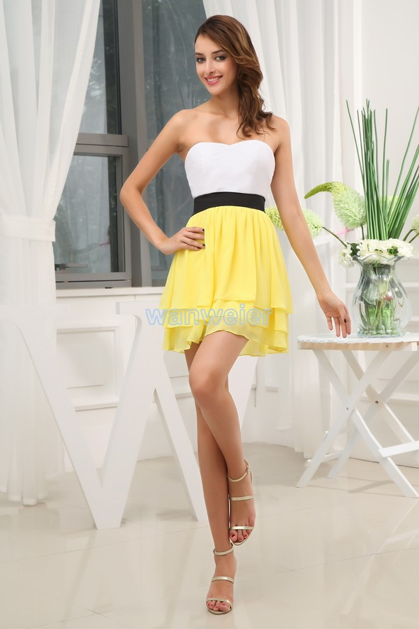 Free Shipping 2016 New Designer Gown A-line Chiffon Lovely Dress Formal Dress Brides Maid Dress Short Yellow Bridesmaid Dresses