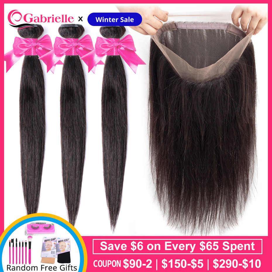 Gabrielle Brazilian Straight Hair Bundles with 360 Lace Frontal Natural Color Non-Remy Human Hair Weave Bundles with Closure