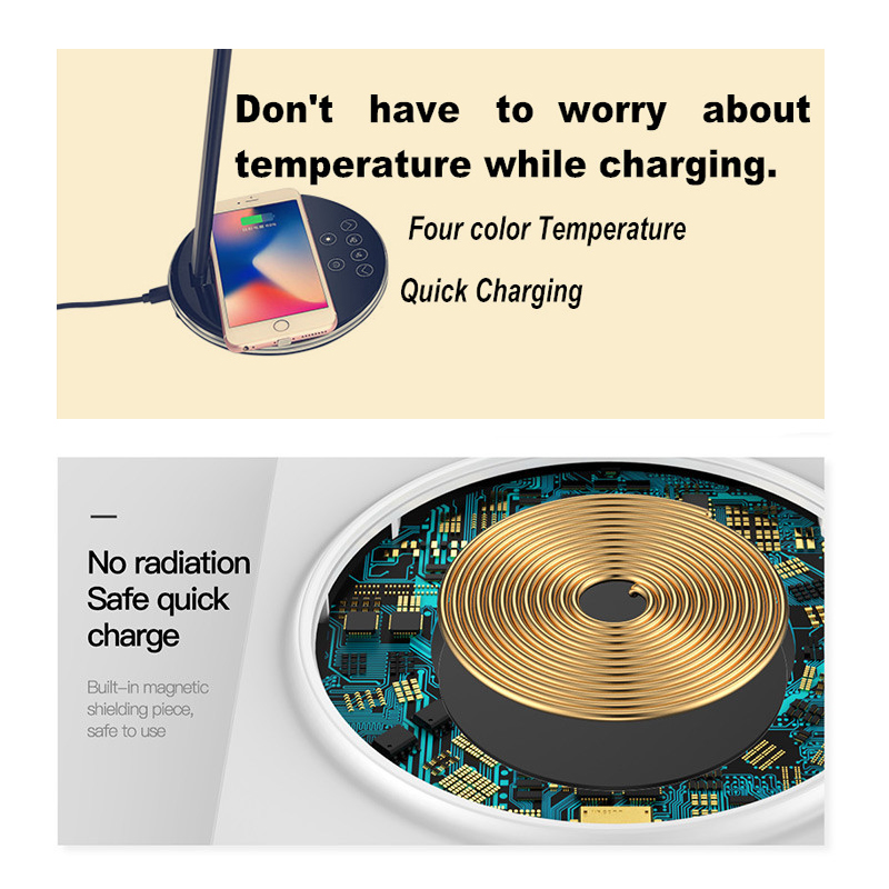 Image 4 - Leise Lamp Qi Wireless Charger for iPhone XS Max X Foldable Table Desktop Desk LED Light Fast Wireless Charging Pad for Samsung