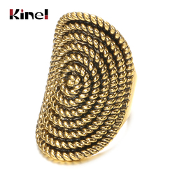 kinel 2020 Vintage Punk Rock Rings For Women Ancient Gold Color Midi Rotating Lucky Pattern Oval Ring Women Boho Jewelry Gift