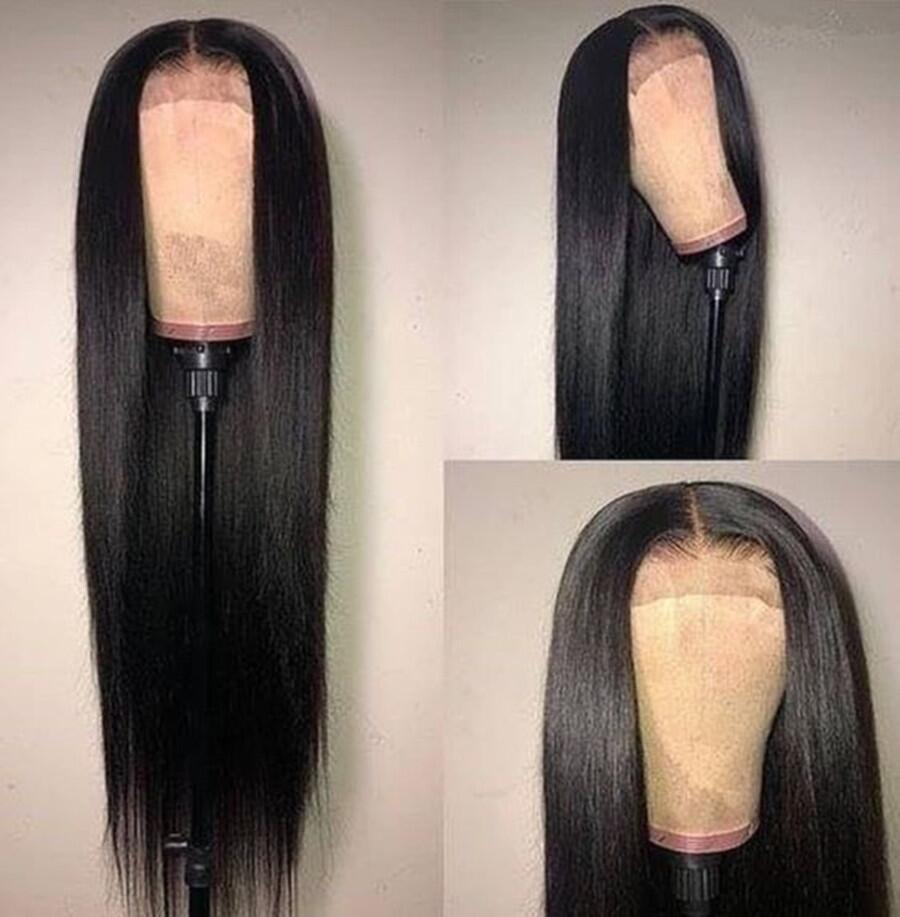 Парик Abijale из человеческих волос на сетке 13x4, 28-40 дюймов, прямой парик на сетке спереди для черных женщин, предварительно выщипанный, Remy, плот...
