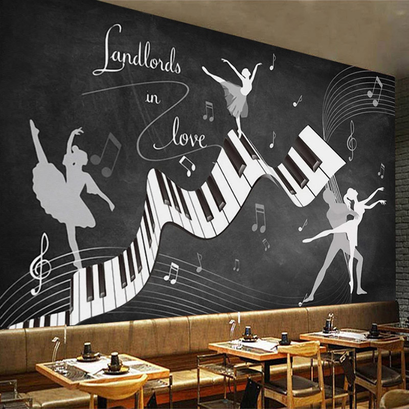 Custom 3D Retro Nostalgic Blackboard Poster Mural Music Graffiti Piano Dance Beauty Restaurant Cafe Decoration Photo Wallpaper