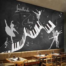 Personalizado 3D Retro nostálgico pizarra cartel Mural música Graffiti Piano danza belleza restaurante café decoración foto papel tapiz